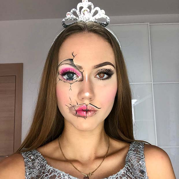 Cracked Doll Face Makeup Look for Halloween