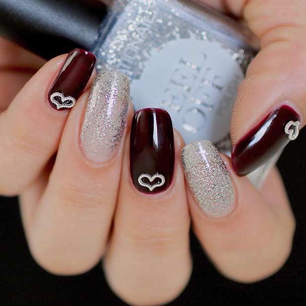 Cute Burgundy and Glitter Nails
