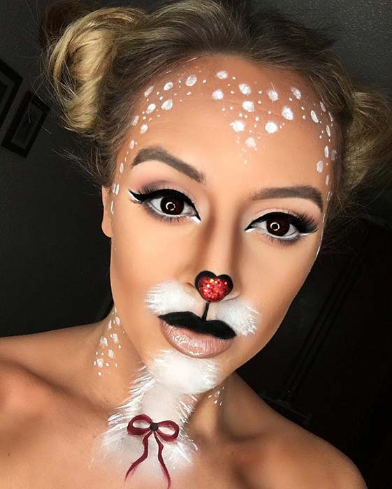 Cute Deer Makeup Idea for Halloween