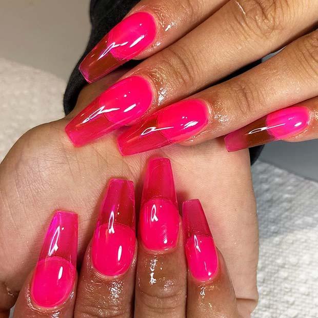 Cute Pink Jelly Nail Idea