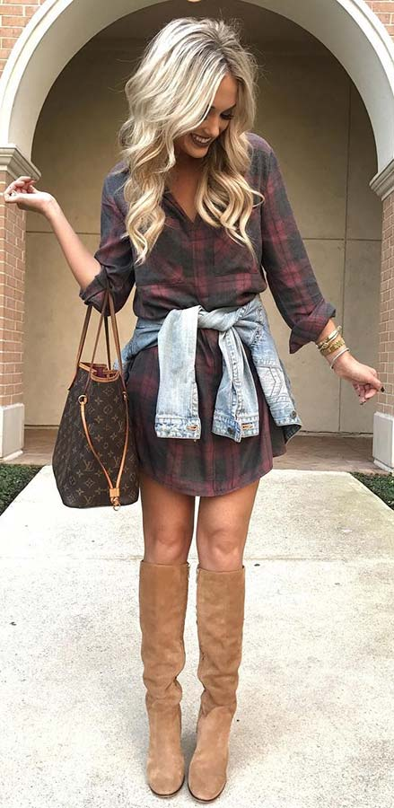 Plaid Shirt Dress and Boots for Fall