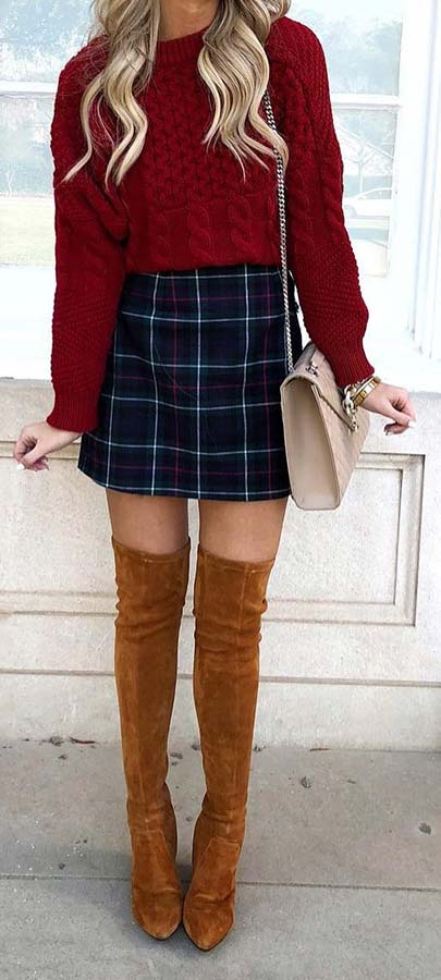 Plaid Skirt, Sweater and Boots Outfit Idea