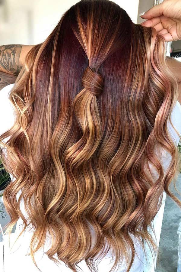 Dark Red Hair with Blonde Highlights
