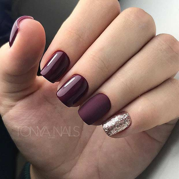 Simple Burgundy Nail Design