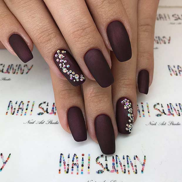 Burgundy Matte Nails with Rhinestones