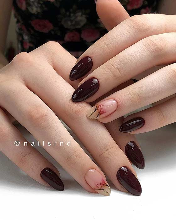 Elegant, Floral Burgundy Nails