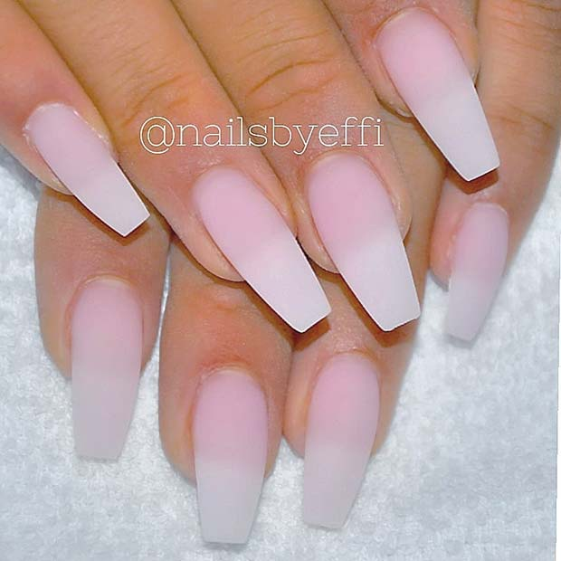 Elegant Ombre Matte Coffin Nails