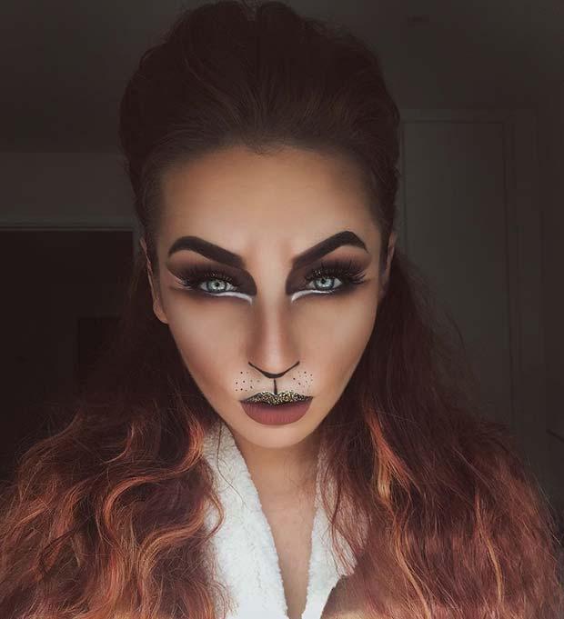 Pretty Feline Halloween Makeup Idea