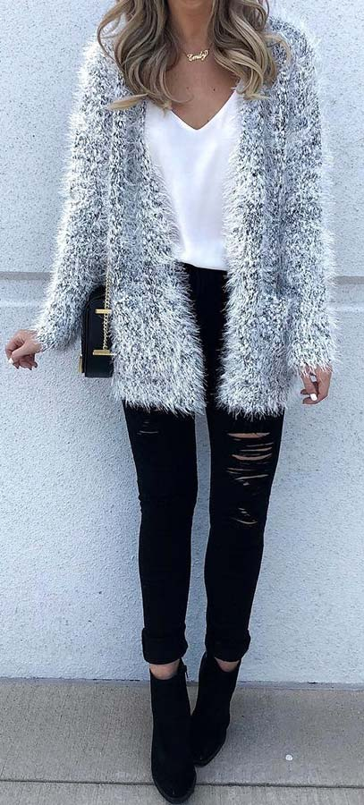 Fluffy Cardigan and Ripped Jeans Outfit