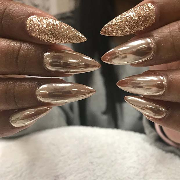 Gold Chrome Nails with a Pop of Glitter