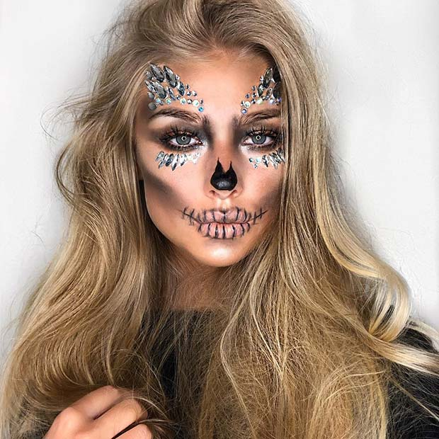 Glitter Gem Skull Makeup for Halloween