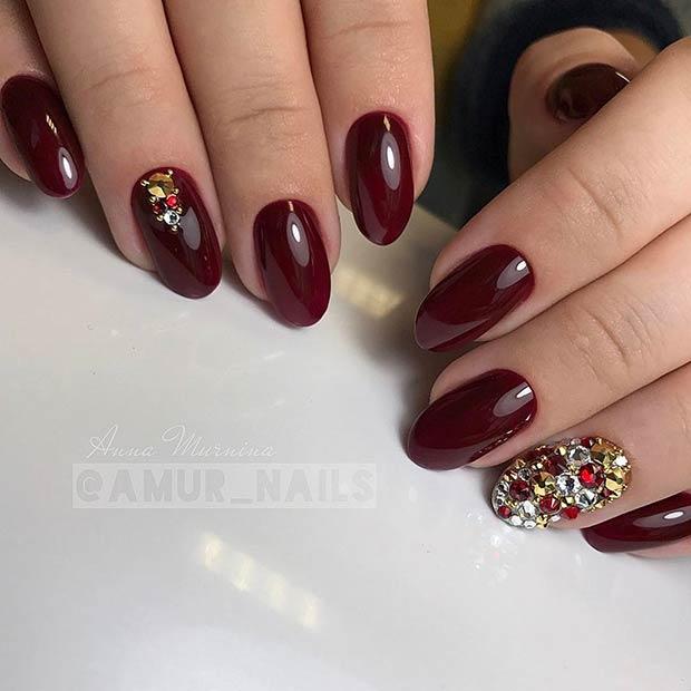 Glossy Burgundy Nails with Rhinestones