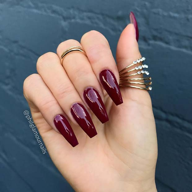 Glossy Burgundy Coffin Nails