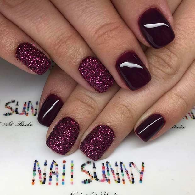 Pretty Burgundy Glitter Nails