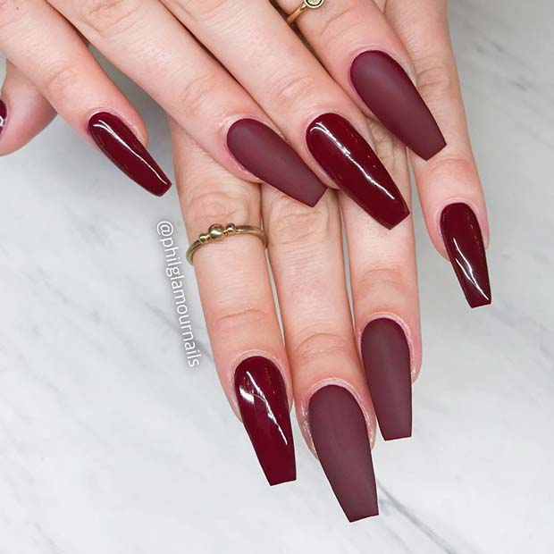 Glossy and Matte Burgundy Nails