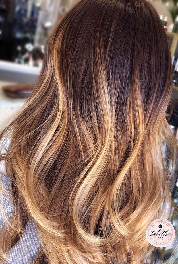 Golden Blonde Balayage with Dark Roots