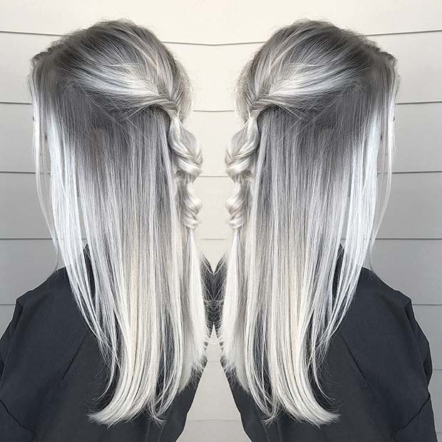 Grey to Silver Ombre Hair
