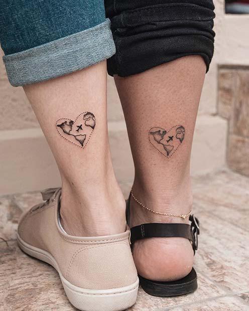 Matching Heart Map Tattoos