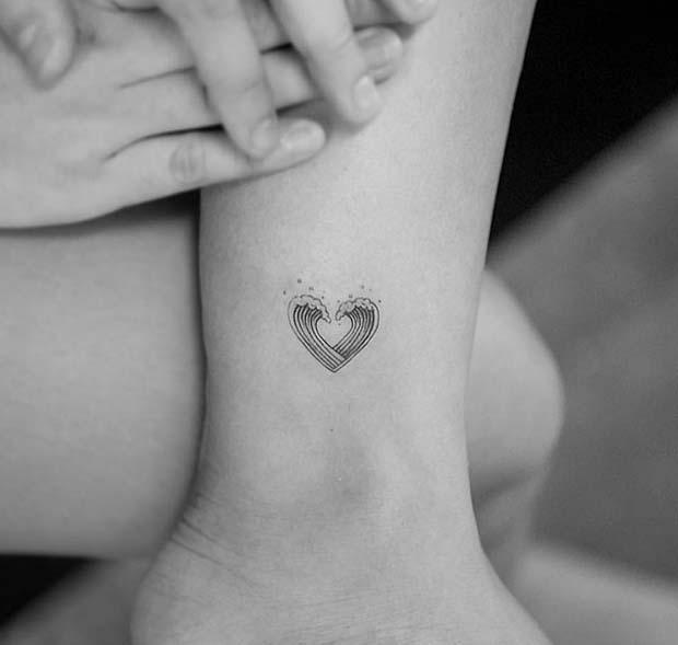Tiny, Heart Wave Tattoo Design