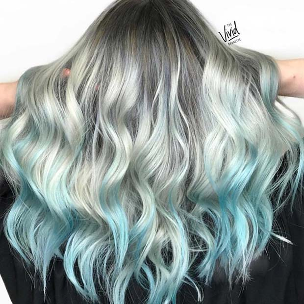 Blue and Icy Silver Hair Color Idea