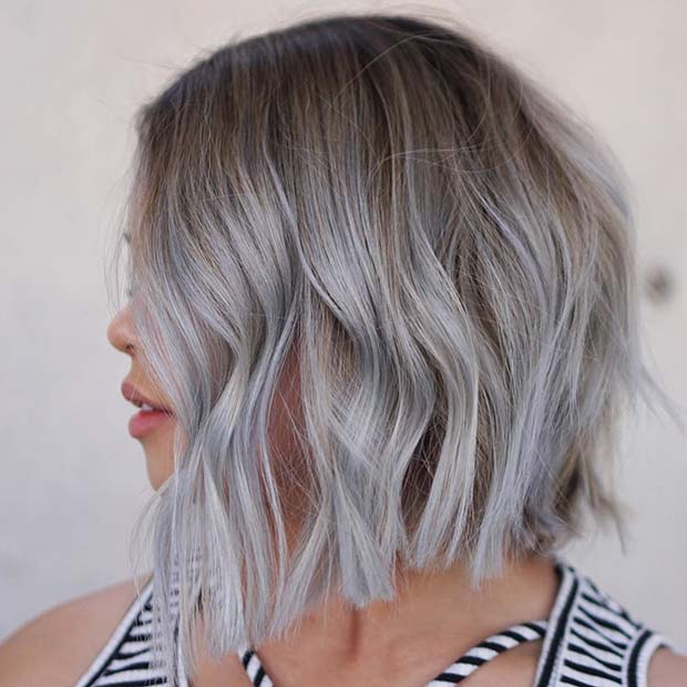Light Brown to Silver Ombre Bob