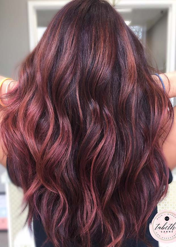 Light Burgundy Balayage Hair