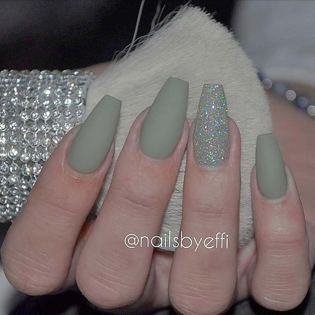 Matte Green Coffin Nails with Glitter
