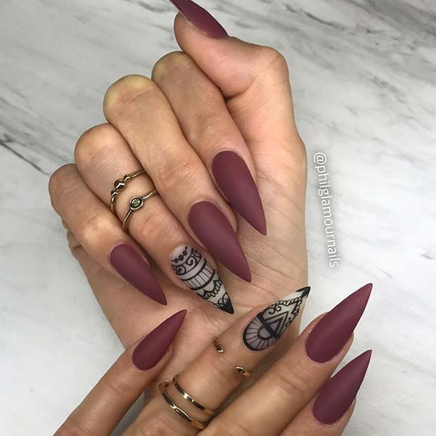 Matte Burgundy Stiletto Nails
