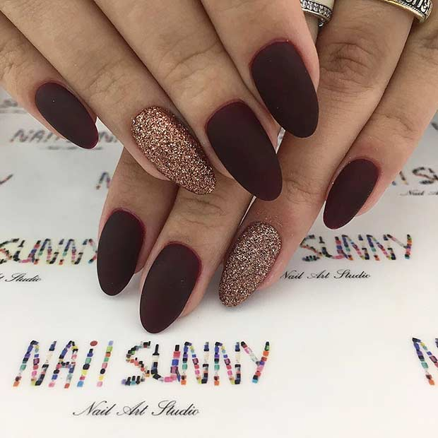 Matte Burgundy and Gold Nails