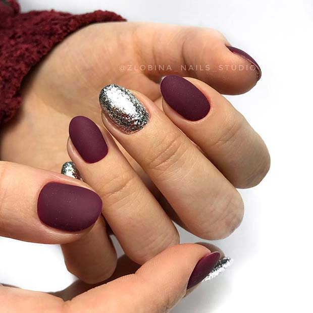 Matte Burgundy and Silver Nails