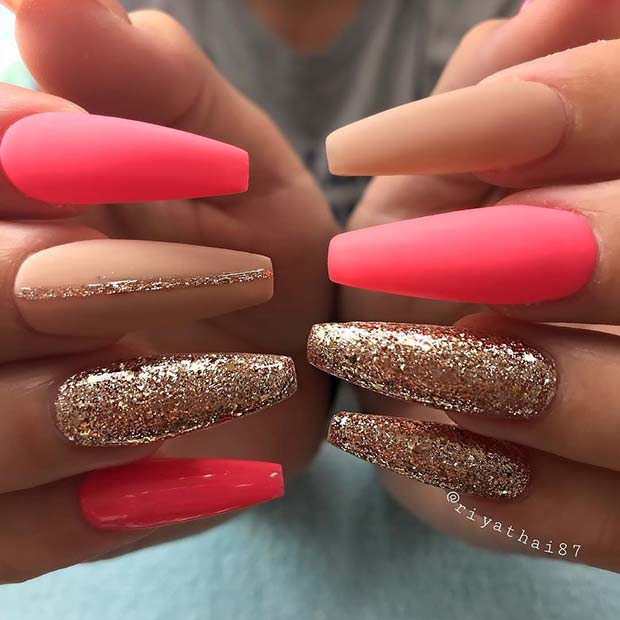 Bright Pink Matte Coffin Nails for Summer