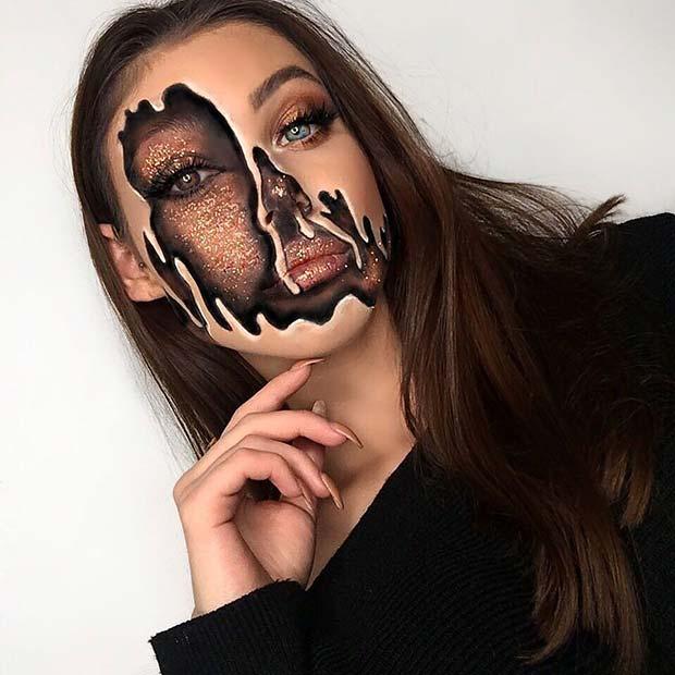 Glitter Melting Makeup Idea for Halloween
