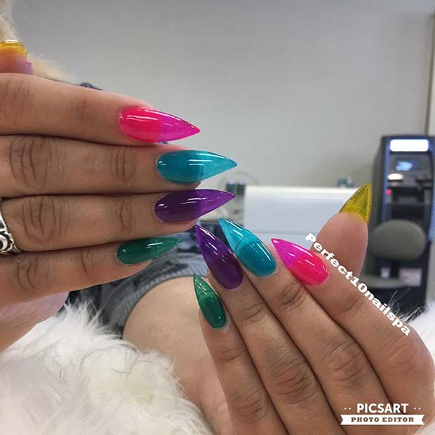 Colorful Jelly Nails for Summer