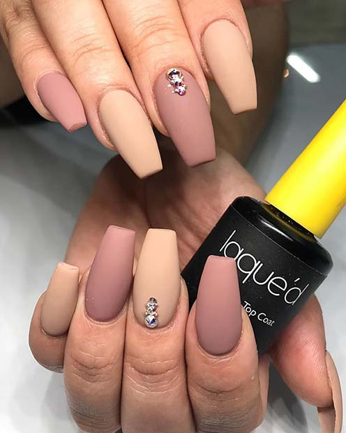 Nude Matte Coffin Nails with Gems