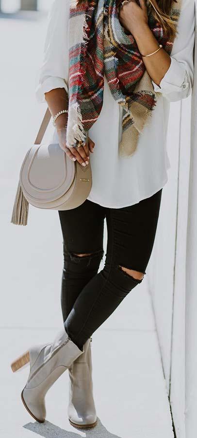 Tartan Scarf Fall Outfit Idea