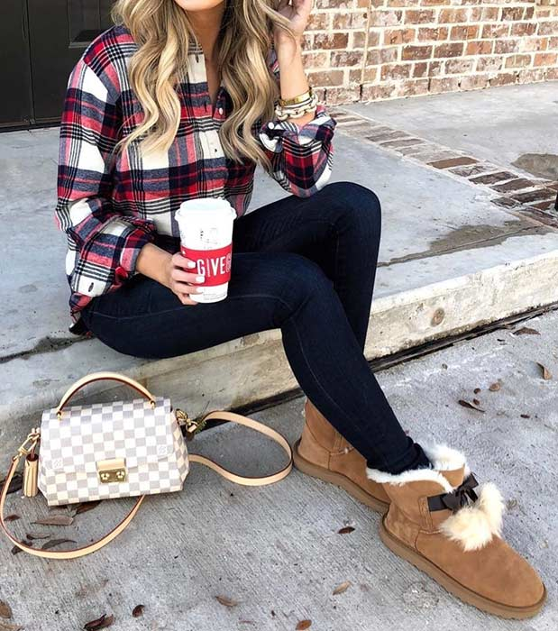 Plaid Shirt Fall Outfit Idea