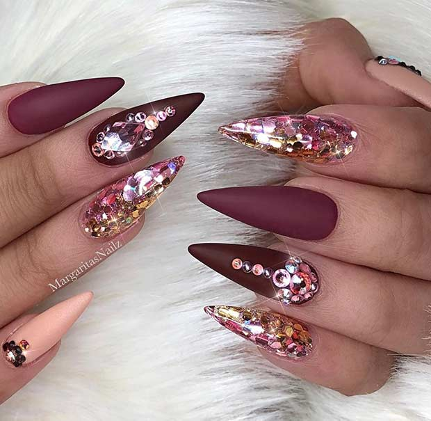 Pointy Burgundy Nails with Rhinestones