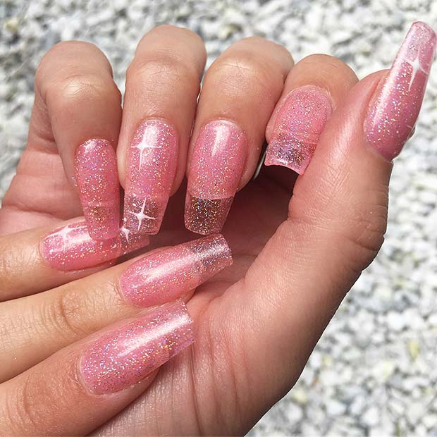 Pink Glitter Jelly Nails