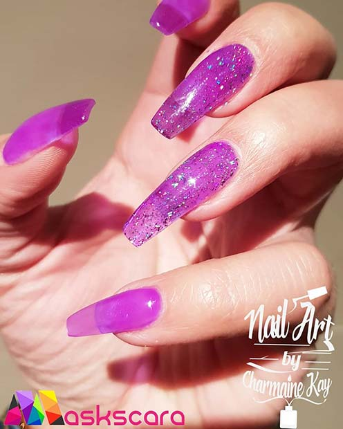 Purple Glitter Jelly Nails