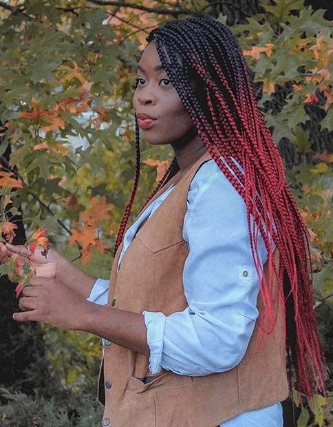 Long, Red Ombre Box Braids