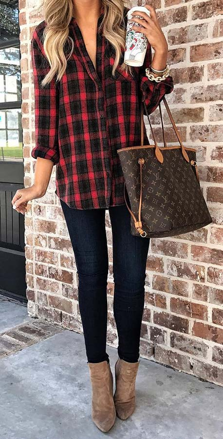 Plaid Shirt and Jeans Fall Outfit