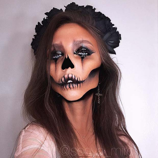 Scary Skull Halloween Makeup