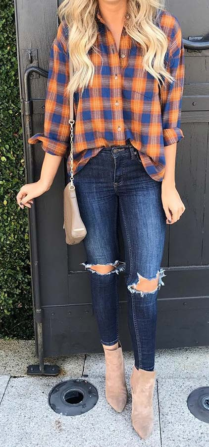 Plaid Shirt, Ripped Jeans and Boots
