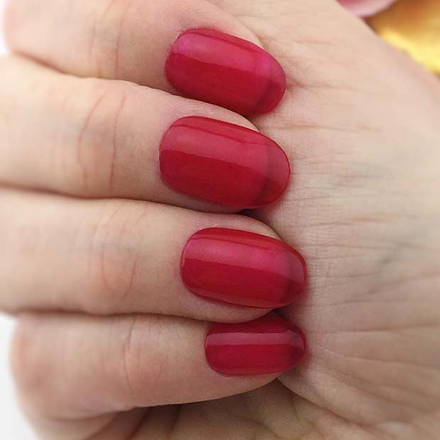 Short , Red Jelly Nails