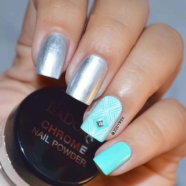 Silver Chrome and Blue Nails