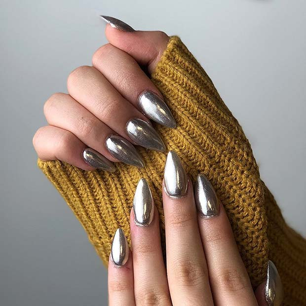Stiletto Silver Chrome Nails