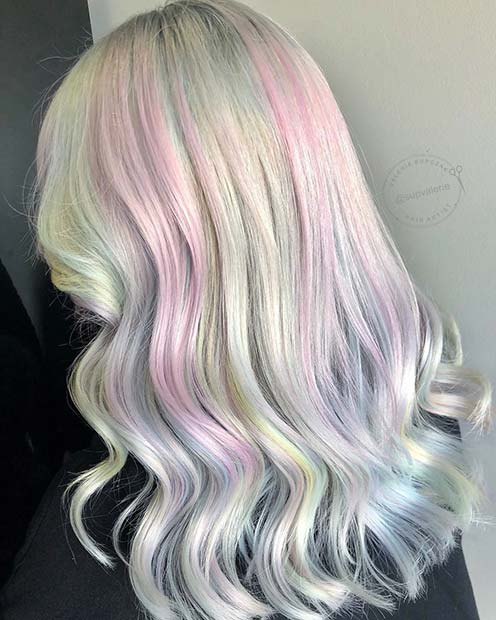 Silver Hair with Subtle Pink Highlights