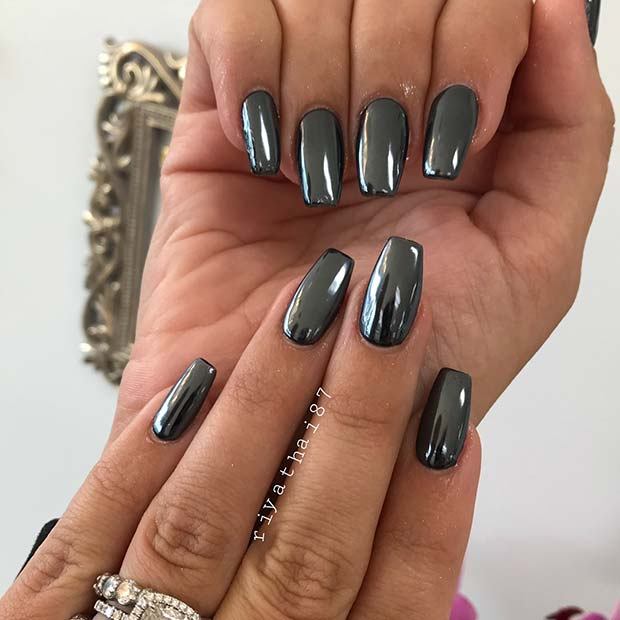 Sleek Steel Chrome Nails