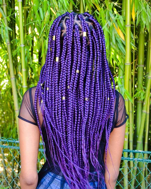 Long, Purple Box Braids with Hair Cuffs