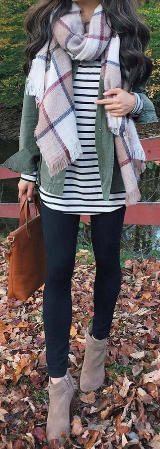 Striped Shirt and Plaid Scarf Outfit Idea